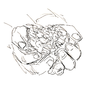 small black and white sketch of hands holding dirt