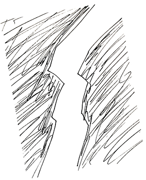 small black and white sketch of a chasm