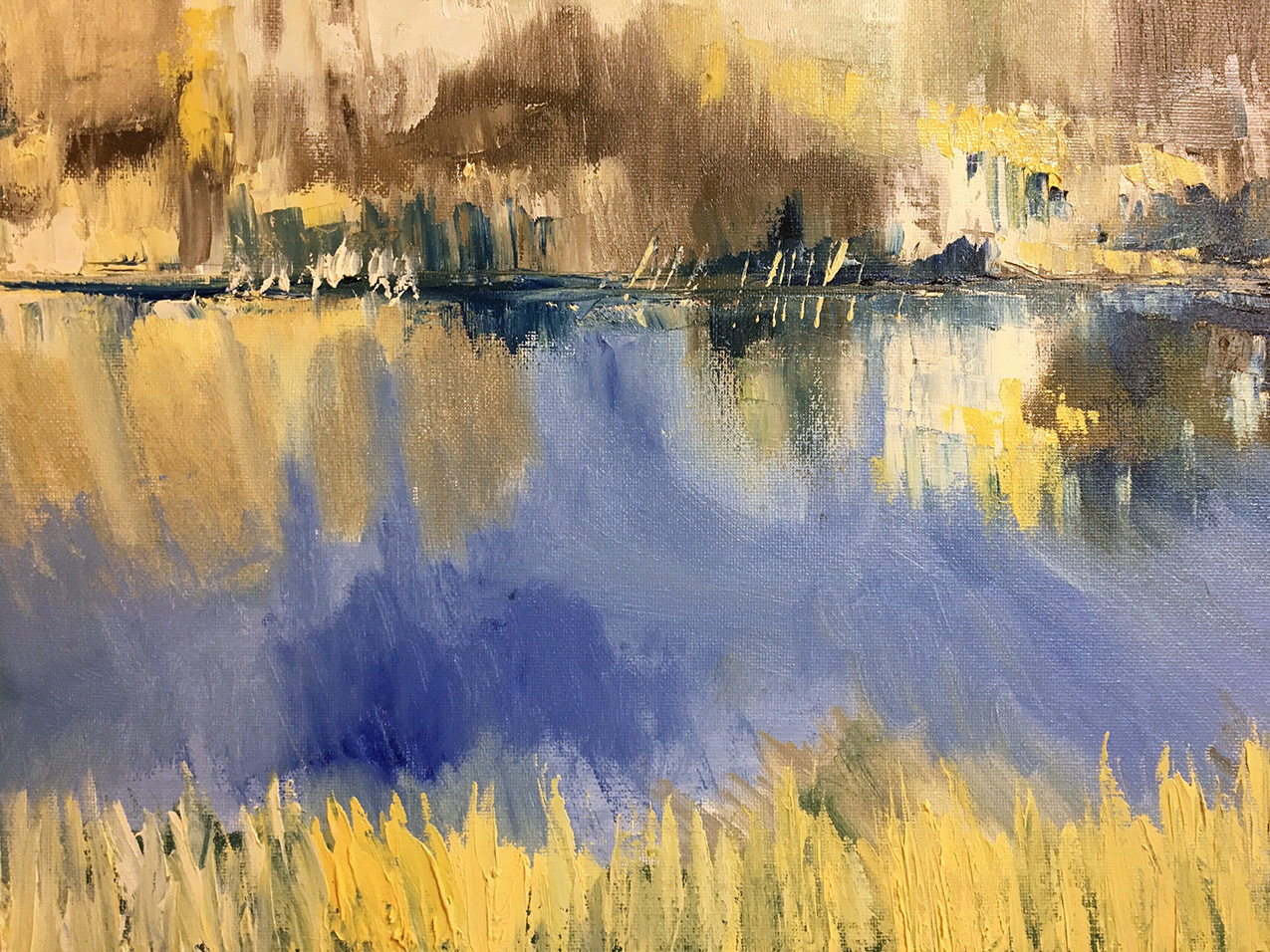 abstract painting of a blue river with gold grass banks