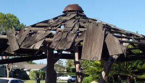 shingled roof falled into disrepair