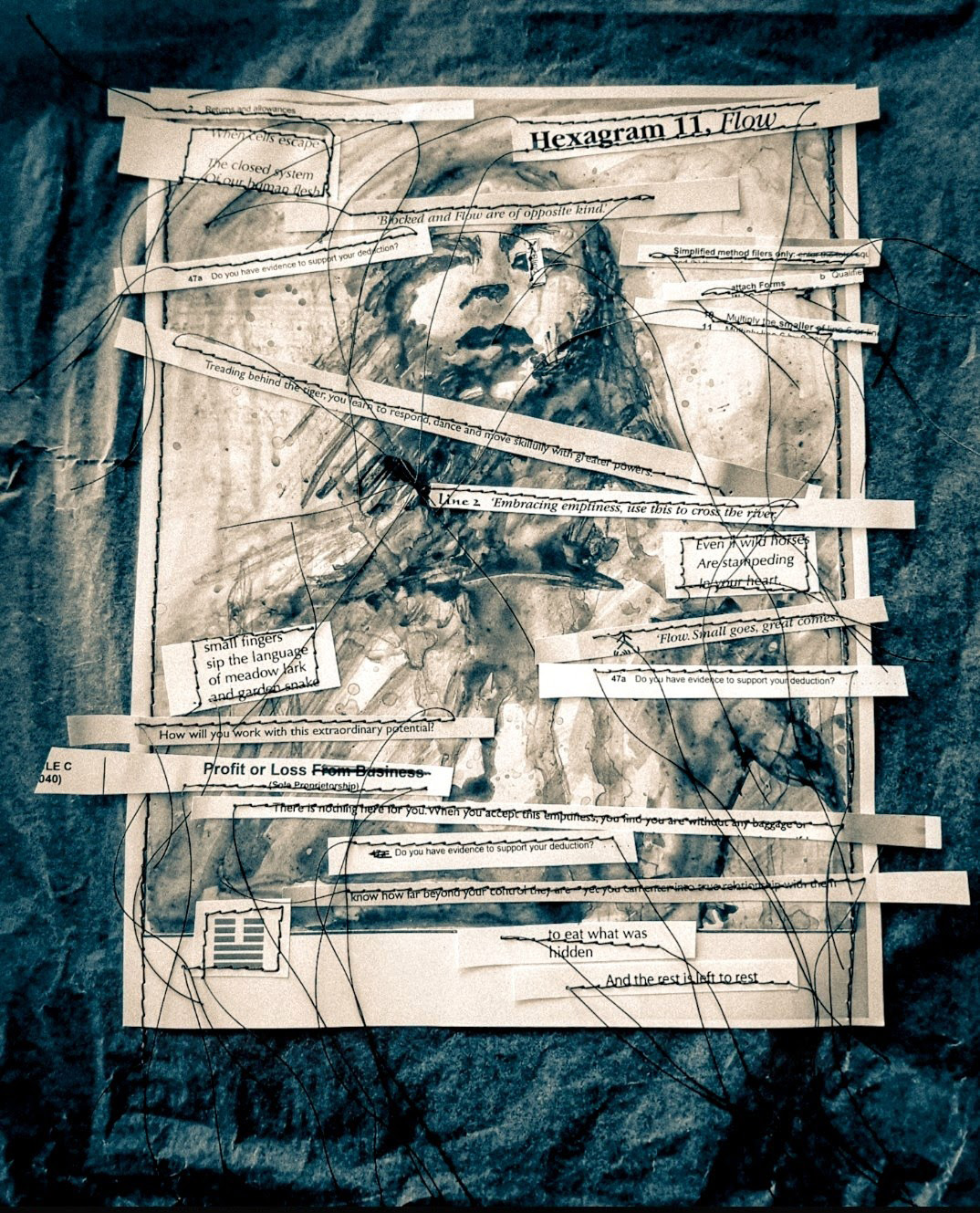 Collage of a sketched woman on white paper over a dark background. The paper has cut out text snippets sewn to it with white thread.