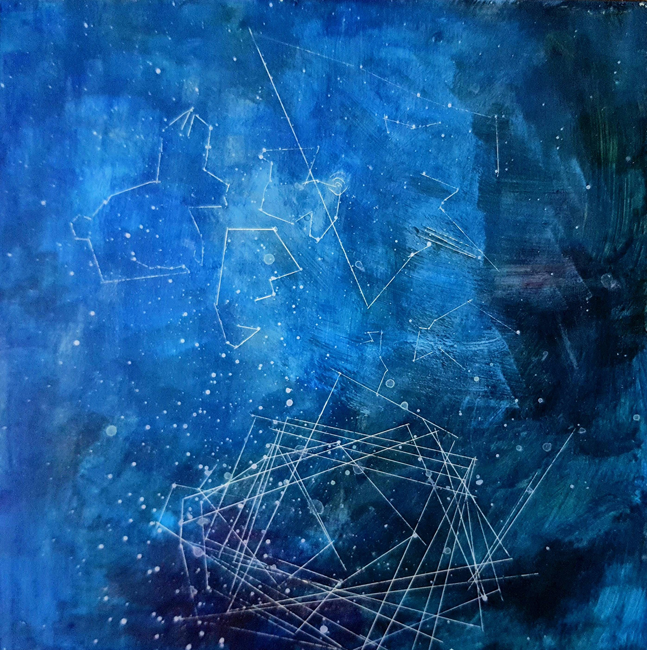 Painting of a blue background with dots and constellations in white. Some constellations are abstract while others evoke animal shapes.
