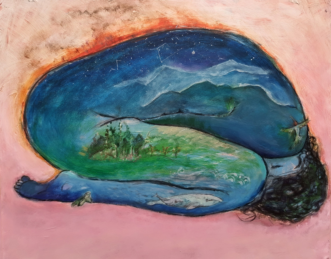 Painting of a female figure on a light pink background. The figure is curled up and the shape is filled with water, vegetation and animals to represent the Earth.