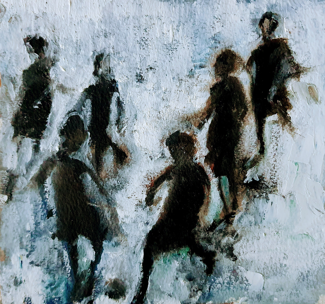 Textured abstract painting of silhouettes of children playing with a ball on a dirty white background