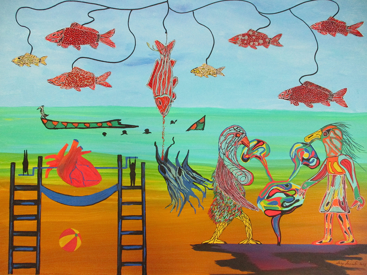 surreal drawing of flying fish and mythical creatures on a beach. a human heart is turned on a spit by tiny women.