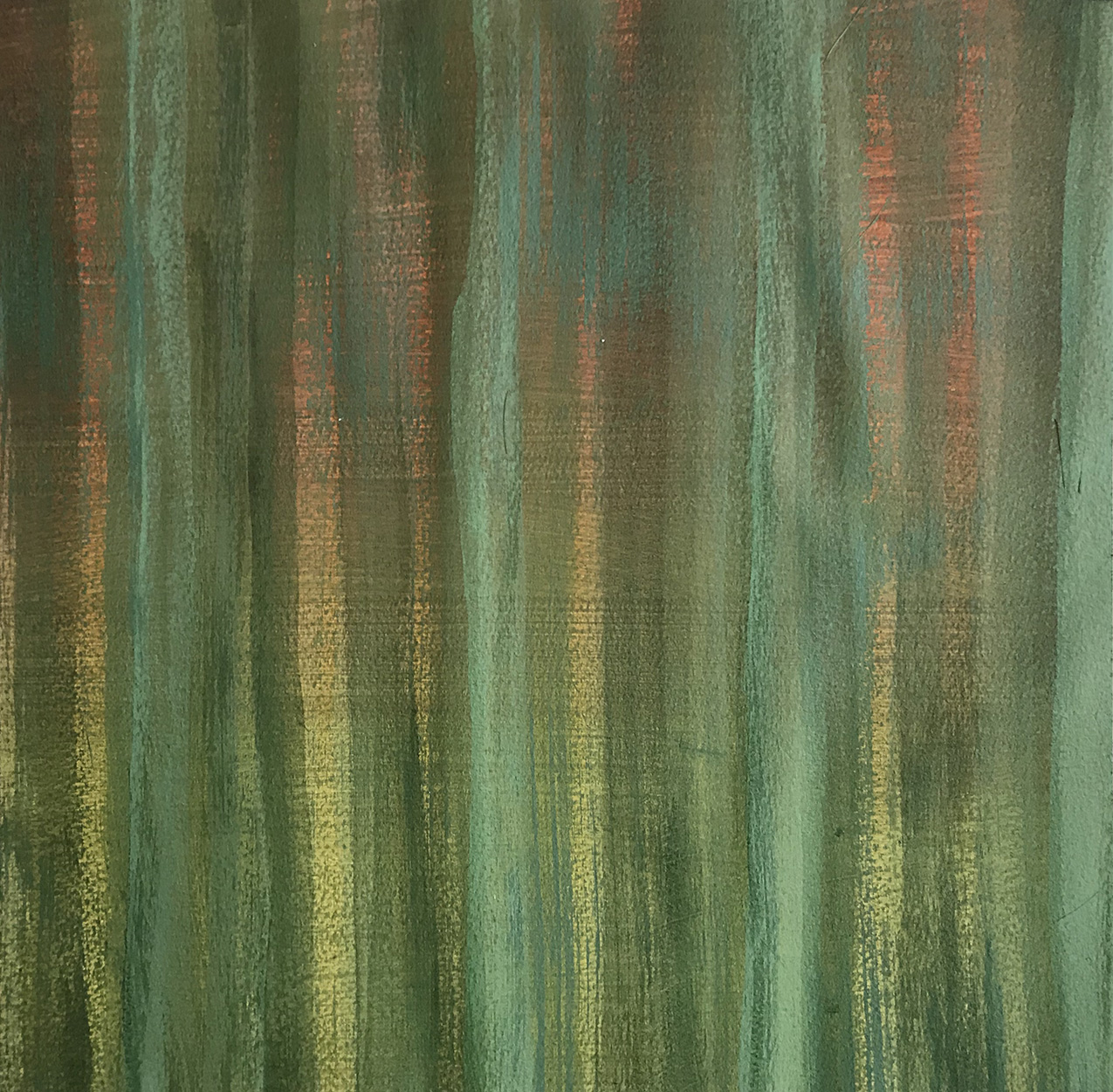 abstract painting of vertical brush strokes in various shades of green