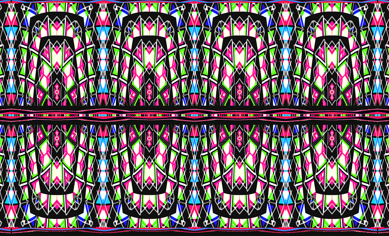 abstract digital pattern in black, white, magenta, blues and green