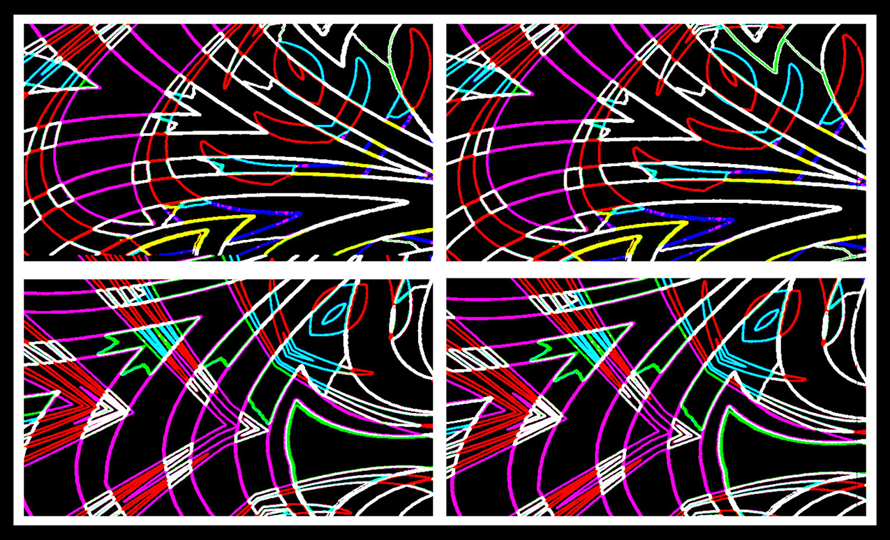 abstract digital artwork in four quadrants; back background with white, magenta, red, blue and yellow lines
